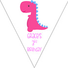 personalised card birthday party bunting 10 flags 3m GIRL PINK DINOSAUR #1