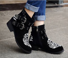Womens Buckle Embriodered Rivet European Style Loafer Fashion Block Heel Shoes