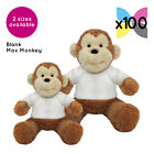 100 Blank Max Monkeys Soft Toys Plain White T-Shirt Transfer Sublimation Bulk