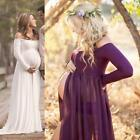 Women Cotton Off Shoulder Dress Long Sleeve Maternity Gown Photography Props