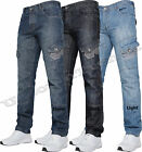 "Men Designer New Crosshatch Denim Button Fly Regular Fit Cargo Blue Jeans 28""-48"