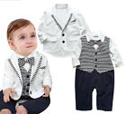 StylesILove Infant Toddler Baby Boy 2PC Gentlemen Suit Striped Romper And Jacket