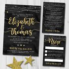 Package Deal - Wedding Invitation, RSVP and Gift Poem, Winter Stars Gold Effect