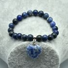 Natural Stone Painted Agate Polished Heart Charm Beads Stretch Bracelet