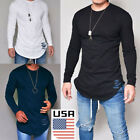 USA Men's Slim Fit Cotton Shirts Crew-Neck Long Sleeve Casual T-Shirt Tee Tops