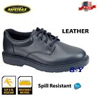 mens oxford black leather work shoe slip resistant casual shoes non skid st