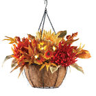 Fall LED Mum Floral Basket Arrangements, Hanging, by Collections Etc
