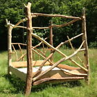 Driftwood Four Poster Canopy Bed, Unique Wooden Bed Frame, Made in UK