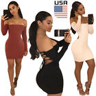 backless dresses uk - USA Women's Bandage Bodycon Long Sleeve Club Party Cocktail Mini Dress Backless