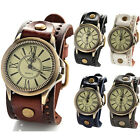 Vintage Mens Womens Steampunk Watches Wide Leather Wristband Bracelet Cuff Hot image