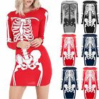 Ladies Printed Womens Tunic Halloween Fancy Top Skeleton Bodycon Fitted Dresses