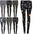 Womens Ladies Full Ankle Length Spooky Halloween Scary Cat Skull Fitted Leggings