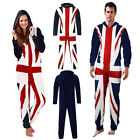 Mens Womens Union Jack Coral Fleece All In One Luxury Unisex Night Loungewear