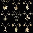 Fashion Stainless Steel Women Jewelry Set Crown Pendant Necklace Chain Earrings