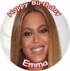 "BEYONCE ROUND 7.5""  CAKE TOPPER ICING OR RICEPAPER"