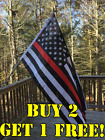 First Responders American Flag 3x5 ft Thin Blue & Red Line Black & White US NEW