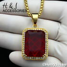 "18-36""MEN Stainless Steel 3mm Gold Box Link Chain ICED Ruby Charm Pendant*GP103"
