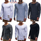 USA Men's Slim Fit Crew Neck Long Sleeve Muscle Tee T-shirt Casual Tops Blouse