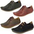 Ladies Clarks Janey Mae Black Leather Lace Up Casual Shoes
