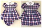 BABY GIRLS SPANISH STYLE SMOCKED DRESS BLUE RED WHITE CHECK