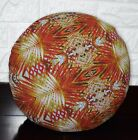 AF254n Red Orange Leaf Cotton Canvas Round Cushion Cover/Pillow Case Custom Size