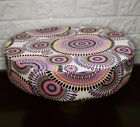 AF257r Lilac Coral Flower Cotton Canvas 3D Round Seat Cushion Cover Custom Size