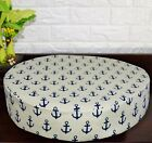 AL266r DpBlue Beige Anchor Cotton Canvas 3D Round Seat Cushion Cover Custom Size