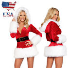 US Stock Santa Claus Hooded Costume Christmas Dress Xmas Party Outfit