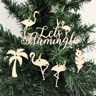 FLAMINGO Decorations / Baubles x6 - Tropical Palm Tree Christmas Wooden Hanging