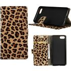 Leopard Print PU Leather Case Magnetic Clasp Wallet Cover For Various Phone