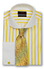 Dress Shirt Only Steven Land Trim&Classic Fit French Cuff-Yellow/White-TW1738-YE
