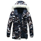 Cool Men's Winter Thick Camo Jacket Coat Fur Collar Hooded Cotton Overcoat Parka