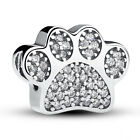 💞 Sterling Silver 925 Love My Pet Dog Paw Cat Pave Print Charm Animal CZ Family