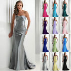 Mermaid Stain Bridesmaid Formal Gown Prom Party Ball Evening Dresses Size 6-22++