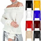 Womens Ladies Off Shoulder Chunky Knitted Peplum Ruffle Frill Long Sleeve Jumper