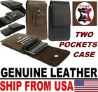 # TWO POCKET FLAP GENUINE LEATHER BELT POUCH WITH CARD POCKETS FOR MOBILE PHONES