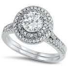 Sterling Silver CZ Halo Women's Round Cut Engagement Ring Wedding Set Size 5-9