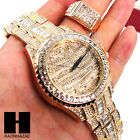 TECHNO PAVE GOLD BLING ICED OUT 14K GOLD LAB DIAMOND WATCH and RING SET GW191 image