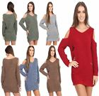 Ladies Long Sleeve Cut Shoulder Ribbed Winter Sweater Womens Stretch Jumper Top