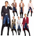 Ladies Waterfall Suede Cardigan Womens Modest Belted Draped Open Longline Jacket
