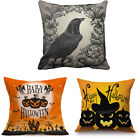 Happy Halloween Pillow Cases Cotton Linen Sofa Cushion Cover Home Room Decor UK