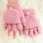 Women Flip Top Gloves Convertible Fingerless Mittens Folded Cuff Assorted Colors
