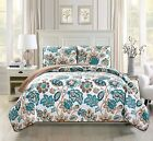 Fancy Linen Over Sized Quilt Bedspread Venice Off White Brown Teal All Sizes New image