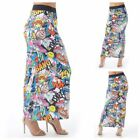Womens Ladies Stretch Comic Bang Print Pattern Long Tube Gypsy Jersey Maxi Skirt