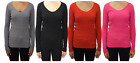 Womens Ladies V Neck Ribbed Top Jumper Long Sleeve Plain Sweater Top - KD002