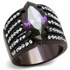 Women's 5.82Ct Marquise Amethyst CZ Brown Plated Stainless Steel Engagement Rin