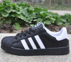 New Women Mens Lace Up Trainers Shoes Superstar Casual Leather Sneakers Flats UK