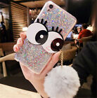 Bling Glitter Diamond Sequins Lovely Eyes Plush Rabbit Fur Ball Soft Case Cover