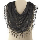 Lace Knit Infinity Scarf With Fringe, by Collections Etc