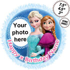 Elsa & Anna from Frozen icing cake topper personalise with photo and message